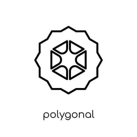 polygonal hexagonal icon. Trendy modern flat linear vector polygonal hexagonal icon on white background from thin line Geometry collection, outline vector illustration
