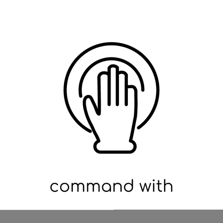 Command with fingers icon. Trendy modern flat linear vector Command with fingers icon on white background from thin line Hands and guestures collection, editable outline stroke vector illustration