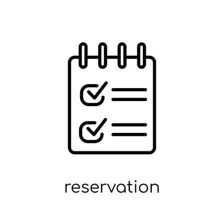 reservation icon. Trendy modern flat linear vector reservation icon on white background from thin line Restaurant collection, outline vector illustration
