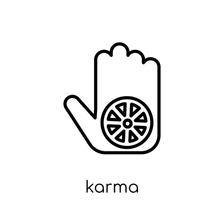Karma icon. Trendy modern flat linear vector Karma icon on white background from thin line india collection, editable outline stroke vector illustration