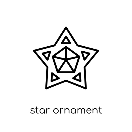 star ornament of small triangles icon. Trendy modern flat linear vector star ornament of small triangles icon on white background from thin line Geometry collection, outline vector illustration Ilustração