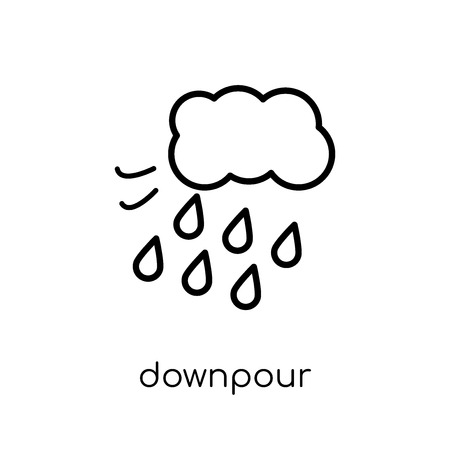 downpour icon. Trendy modern flat linear vector downpour icon on white background from thin line Weather collection, outline vector illustration Foto de archivo - 112105351
