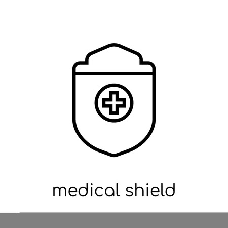 medical Shield icon. Trendy modern flat linear vector medical Shield icon on white background from thin line Health and Medical collection, editable outline stroke vector illustration Illustration