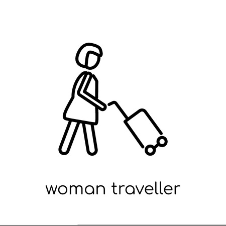 Woman Traveller icon. Trendy modern flat linear vector Woman Traveller icon on white background from thin line Ladies collection, editable outline stroke vector illustration