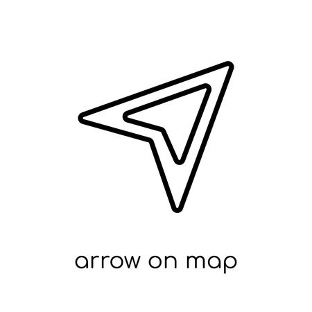 Arrow On Map icon. Trendy modern flat linear vector Arrow On Map icon on white background from thin line Maps and Locations collection, editable outline stroke vector illustration Ilustração