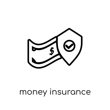 money insurance icon. Trendy modern flat linear vector money insurance icon on white background from thin line Insurance collection, editable outline stroke vector illustration