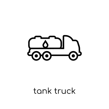 tank truck icon. Trendy modern flat linear vector tank truck icon on white background from thin line collection, outline vector illustration Illustration