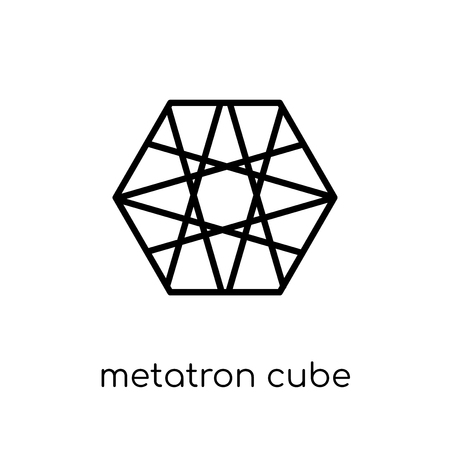 metatron cube icon. Trendy modern flat linear vector metatron cube icon on white background from thin line Geometry collection, outline vector illustration