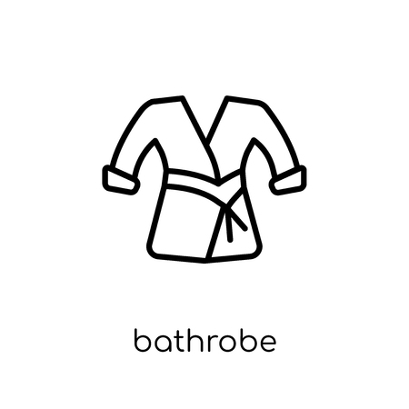 bathrobe icon. Trendy modern flat linear vector bathrobe icon on white background from thin line Hotel collection, outline vector illustration Banque d'images - 112105360