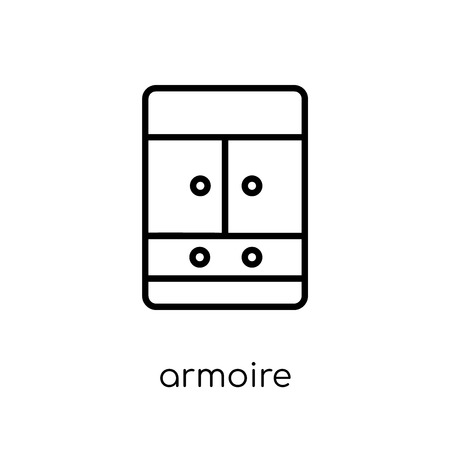 armoire icon. Trendy modern flat linear vector armoire icon on white background from thin line Furniture and household collection, outline vector illustration  イラスト・ベクター素材