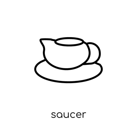 saucer icon. Trendy modern flat linear vector saucer icon on white background from thin line Kitchen collection, outline vector illustration