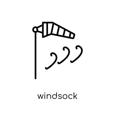 Windsack-Symbol. Trendiges modernes flaches lineares Vektor-Windsack-Symbol auf weißem Hintergrund aus dünner Liniensammlung, Umrissvektorillustration Vektorgrafik