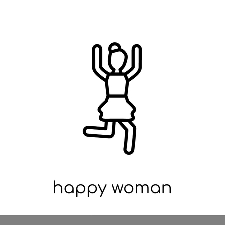 Happy Woman icon. Trendy modern flat linear vector Happy Woman icon on white background from thin line Ladies collection, editable outline stroke vector illustration Иллюстрация