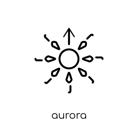 aurora icon. Trendy modern flat linear vector aurora icon on white background from thin line collection, outline vector illustration