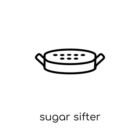 sugar sifter icon. Trendy modern flat linear vector sugar sifter icon on white background from thin line Kitchen collection, outline vector illustration