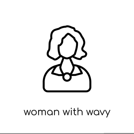 Woman with Wavy Hair icon. Trendy modern flat linear vector Woman with Wavy Hair icon on white background from thin line Ladies collection, editable outline stroke vector illustration 向量圖像