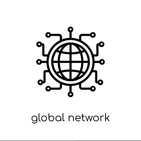 Global network icon. Trendy modern flat linear vector Global network icon on white background from thin line Internet Security and Networking collection, editable outline stroke vector illustration
