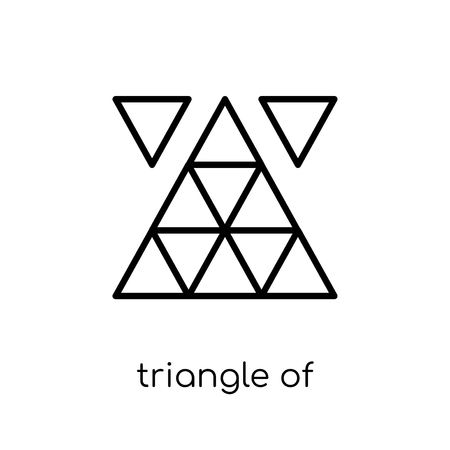 triangle of triangles icon. Trendy modern flat linear vector triangle of triangles icon on white background from thin line Geometry collection, outline vector illustration Illustration