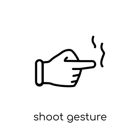 Shoot gesture icon. Trendy modern flat linear vector Shoot gesture icon on white background from thin line Hands and guestures collection, editable outline stroke vector illustration Stock Vector - 112103636