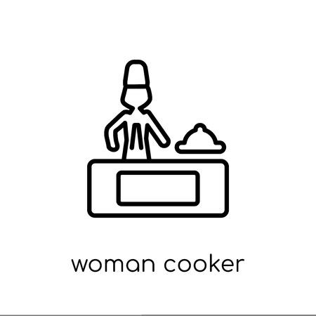 Ikona kobieta kuchenka. Modny nowoczesny płaski liniowy wektor Kobieta Cooker ikona na białym tle z kolekcji damskiej cienkiej linii, edytowalna ilustracja wektorowa obrysu konturu