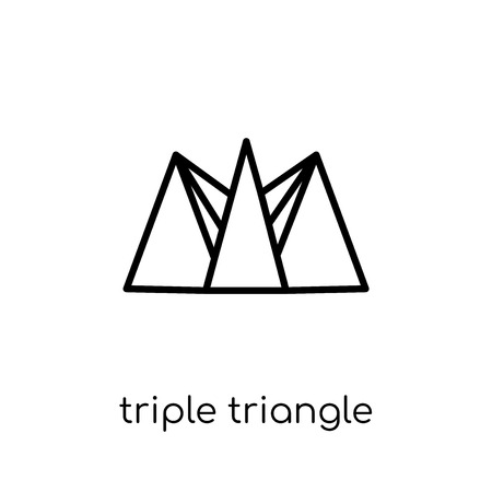triple triangle icon. Trendy modern flat linear vector triple triangle icon on white background from thin line Geometry collection, outline vector illustration