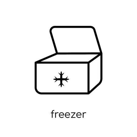 freezer icon. Trendy modern flat linear vector freezer icon on white background from thin line Furniture and household collection, outline vector illustration 일러스트