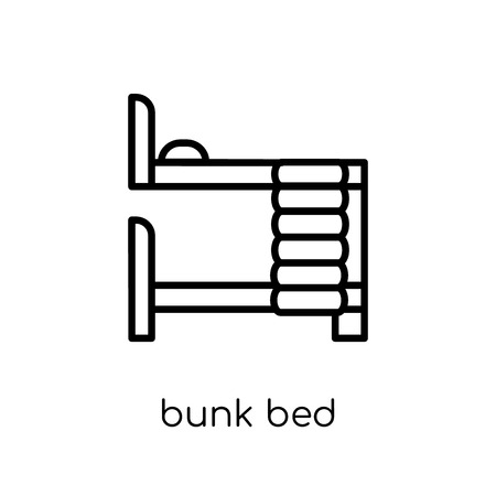 bunk bed icon. Trendy modern flat linear vector bunk bed icon on white background from thin line Hotel collection, outline vector illustration