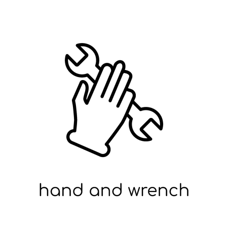 Hand and Wrench icon. Trendy modern flat linear vector Hand and Wrench icon on white background from thin line Hands and guestures collection, editable outline stroke vector illustration