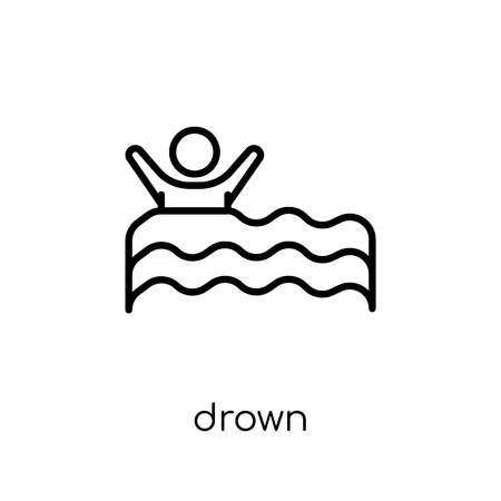 Drown icon. Trendy modern flat linear vector Drown icon on white background from thin line Insurance collection, editable outline stroke vector illustration Standard-Bild - 111338250