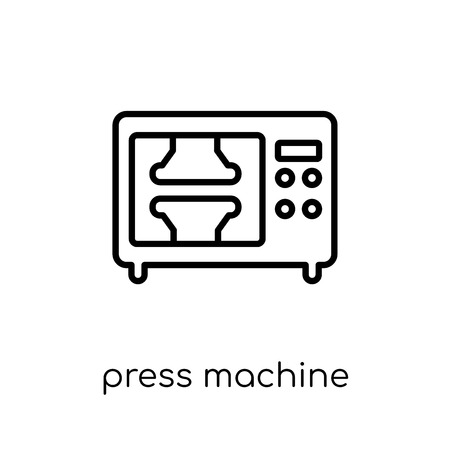 press machine icon. Trendy modern flat linear vector press machine icon on white background from thin line Industry collection, outline vector illustration Ilustração