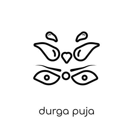 durga puja icon. Trendy modern flat linear vector durga puja icon on white background from thin line india collection, editable outline stroke vector illustration