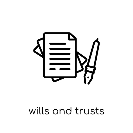Testamente und Trusts-Symbol. Trendiges, modernes, flaches, lineares Vektorwillens- und Vertrauenssymbol auf weißem Hintergrund aus dünner Linie Gesetz und Justizsammlung, bearbeitbare Umriss-Stroke-Vektorillustration vector