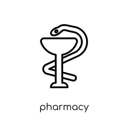 Pharmacy icon. Trendy modern flat linear vector Pharmacy icon on white background from thin line Health and Medical collection, editable outline stroke vector illustration Illustration
