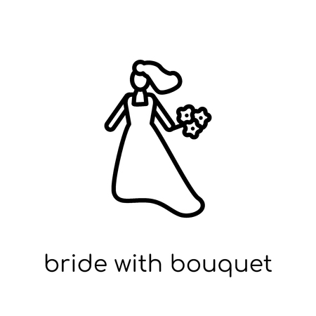 Bride with Bouquet icon. Trendy modern flat linear vector Bride with Bouquet icon on white background from thin line Ladies collection, editable outline stroke vector illustration Standard-Bild - 112099949