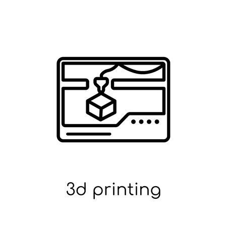3d printing icon. Trendy modern flat linear vector 3d printing icon on white background from thin line general collection, editable outline stroke vector illustration