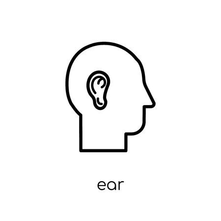Ear icon. Trendy modern flat linear vector Ear icon on white background from thin line Human Body Parts collection, editable outline stroke vector illustration