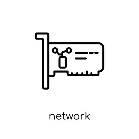 Network Interface Card icon. Trendy modern flat linear vector Network Interface Card icon on white background from thin line hardware collection, editable outline stroke vector illustration Stok Fotoğraf - 112099527