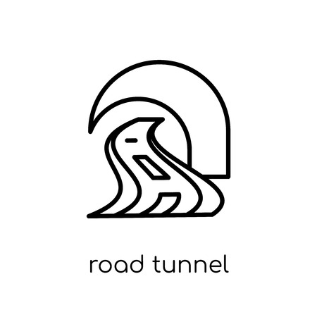 road tunnel icon. Trendy modern flat linear vector road tunnel icon on white background from thin line General collection, editable outline stroke vector illustration
