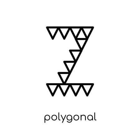 polygonal letter z of small triangles icon. Trendy modern flat linear vector polygonal letter z of small triangles icon on white background from thin line Geometry collection, outline vector illustration Ilustrace