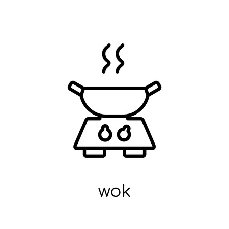 wok icon. Trendy modern flat linear vector wok icon on white background from thin line Kitchen collection, outline vector illustration Stock Illustratie