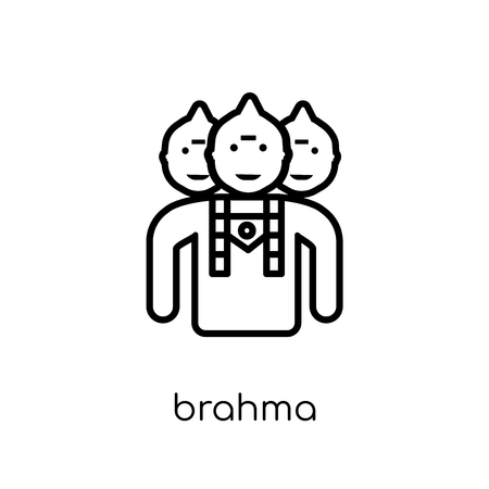 Brahma icon. Trendy modern flat linear vector Brahma icon on white background from thin line india collection, editable outline stroke vector illustration