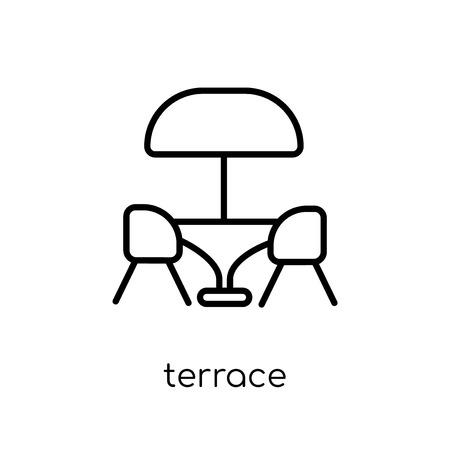 ikona tarasu. Modny nowoczesny płaski liniowy wektor taras ikona na białym tle z kolekcji restauracji cienka linia, zarys ilustracji wektorowych