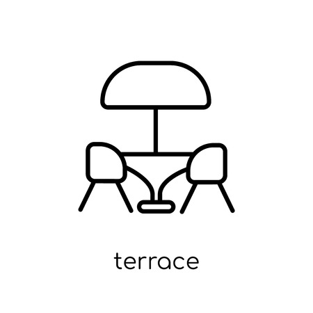 terrace icon. Trendy modern flat linear vector terrace icon on white background from thin line Restaurant collection, outline vector illustration