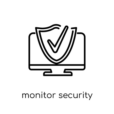 monitor security icon. Trendy modern flat linear vector monitor security icon on white background from thin line Internet Security and Networking collection, outline vector illustration