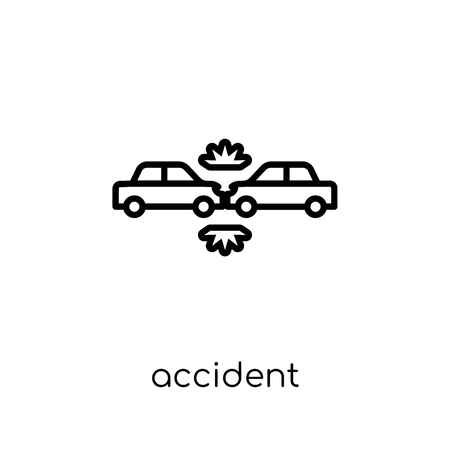 Accident icon. Trendy modern flat linear vector Accident icon on white background from thin line Insurance collection, editable outline stroke vector illustration Banque d'images - 112099412
