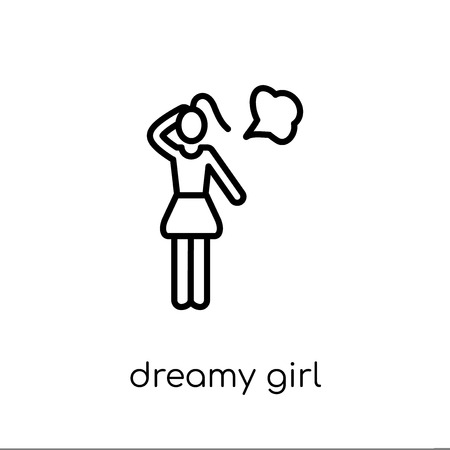 Dreamy girl icon. Trendy modern flat linear vector Dreamy girl icon on white background from thin line Ladies collection, editable outline stroke vector illustration Banque d'images - 112099414