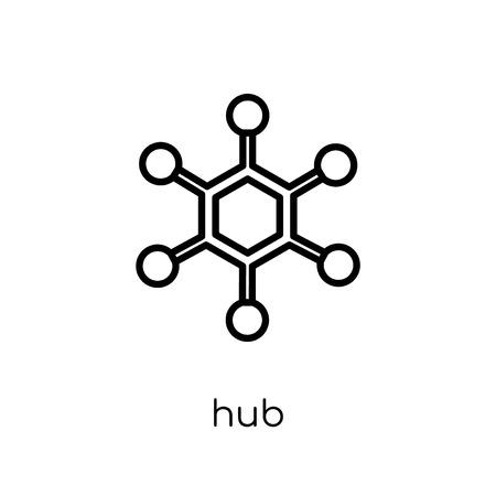 Icono de concentrador. Moda moderno icono de cubo de vector plano lineal sobre fondo blanco de línea fina colección de redes y seguridad de Internet, Ilustración de vector de movimiento editables contorno