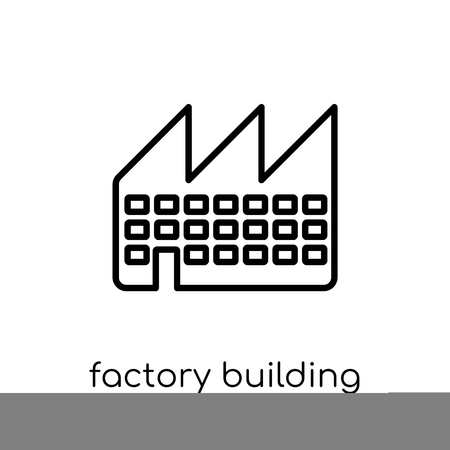 factory building icon. Trendy modern flat linear vector factory building icon on white background from thin line Industry collection, outline vector illustration