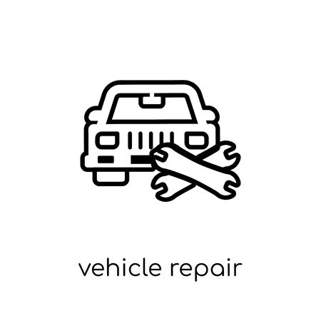 Vehicle repair icon. Trendy modern flat linear vector Vehicle repair icon on white background from thin line Insurance collection, editable outline stroke vector illustration