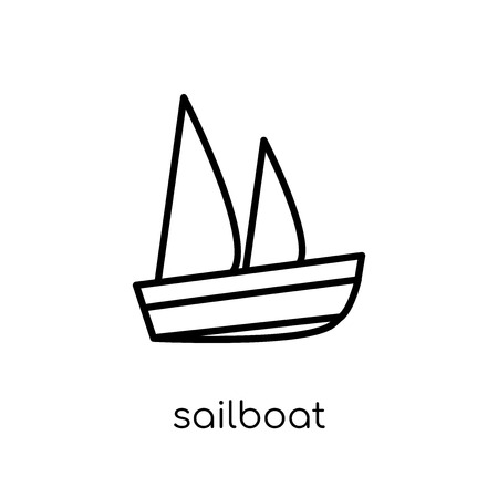 Sailboat Icon icon. Trendy modern flat linear vector Sailboat Icon icon on white background from thin line Maps and Locations collection, editable outline stroke vector illustration
